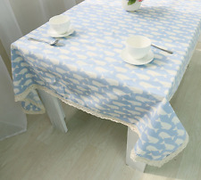 Elegant Pattern Blue Whale  Coffee Table Cotton Linen Cloth Cover oAUr