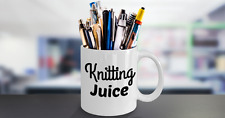 Knit Mug (11oz)Knitting Juice - Gift For Knitters, White Ceramic Coffee Cup