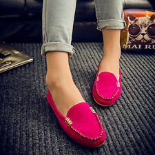 Womens Suede Shoes Ballet Ladies Casual Moccasin Ballerina Slip On Flats Loafer