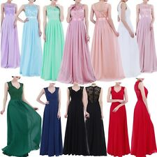 Womens Lace Long Chiffon Evening Formal Party WEDDING Bridesmaid Dress Prom Gown
