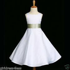 WHITE/SAGE GREEN A-LINE BRIDESMAID FLOWER GIRL DRESS 12M-18M 2 4 6 8 10 12 14 16