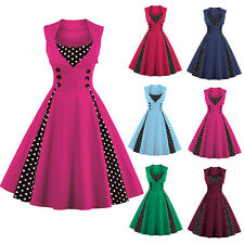 Women's 1950/60s Vintage Rockabilly Swing Dresses Retro Polka Dot Cocktail Party