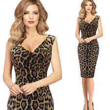 Fashion Womens Leopard Print Sexy Sleeveless V Neck Slim Casual Party Club Dress