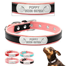Soft Padded Leather Personalised Dog Collars Engraved Pet Puppy Dog ID Name Tags