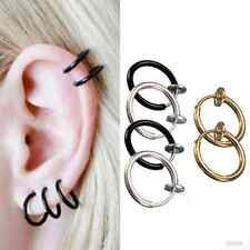 2Pc Clip-On Spring Non-Piercing Fake Septum Lip Cartilage Nose Ear Hoop Ring Hot