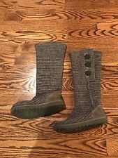 UGG Australia Classic Cardy Knit S'5819 Gray Tall Fold Boots - Women's 7,5