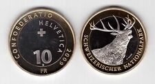 SWITZERLAN​D – BIMETAL 10 FRANCS UNC COIN 2009 YEAR KM#130 ELK