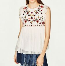 Womens Black/White Floral Embroidered Sleeveless Pullover Blouse Tops Shirt SML