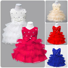Baby Flower Girls Bowknot Tutu Princess Dress Party Wedding Formal Prom Gown