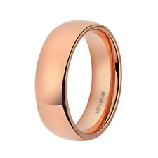 Mens Womens Titanium Wedding Band High Polished Dome Ring Rose Gold Size 8-13