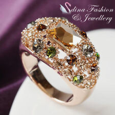 18K Rose Gold GP Made With Swarovski Crystal Colorful Hollow Out Cluster Ring