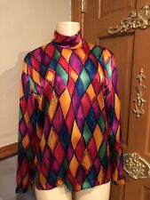 ESCADA  MULTI COLOR TURTLE NECK SILK BLOUSE SHIRT  SZ 36 MADE IN GERMANY