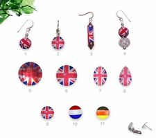 12mm - 25mm UK France Germany Flag Posts Clip Ons Levers & Sterling Silver Hooks