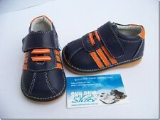 Boys Leather Shoes Navy/Orange for Toddler Kids Children for age 1 - 5 years
