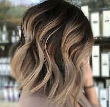 Short Wavy Hair Wig Front Lace Bob Wig For Women Ombre Color 1B/18 Balayage Hot