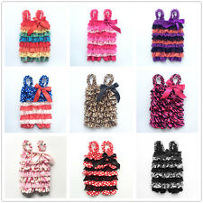 Toddler Baby Newborn Girls Ruffle Lace Petti Sling Rompers Jumpsuit Party Dress