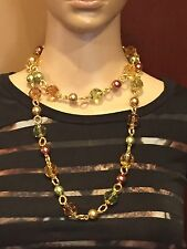 KENNETH JAY LANE-KJL LARGE MULTI COLOR JEWEL TONES CRYSTAL FAUX PEARL NECKLACE