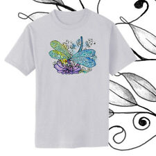 Dragonfly Gem Flower Watercolor and Ink Art T-shirt Youth - Adult