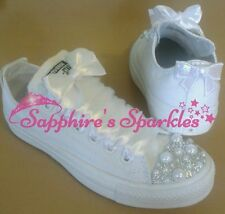 Bridal Pearl Shoes Customised Bling Crystal Mono White Converse 3 4 5 6 7 8 9
