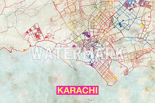 Graphic Map of Karachi, Pakistan - Beautiful Photo Poster Print Street