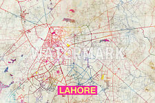 Graphic Map of Lahore, Pakistan - Beautiful Photo Poster Print Street