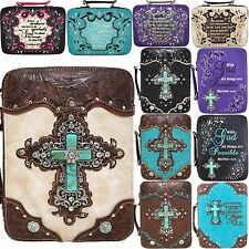 Western Embroidered Scripture Rhinestone Cross Book Bible Cover Messenger Purse