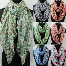 Womens Owls&Houndstooth Print Polyester Long Shawl/Infinity Scarf Ladies Scarves