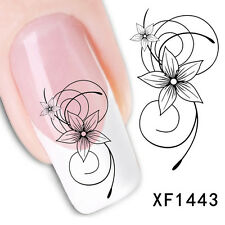 2x 5x SheetsLot Nail Art Decals Transfers Stickers XF1443- Black Flowers 3D Tips