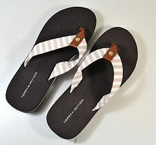 NWT WOMENS TOMMY HILFIGER BROWN STRIPE FLIP FLOP SANDALS SZ 6