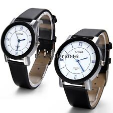 Casual Womens Mens Black Leather Band Round Dial Analog Quartz Wrist Watch Gift