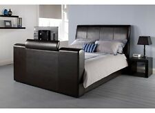 Manhattan TV Bed Black or Brown Leather 4ft6, 5ft With/Without Mattress