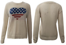 Ladies Womens Crochet Knitted USA Flag Heart Graphic Jumper Top Cardigan Stars