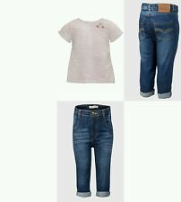 Baby Girls Jeans 3 6 9 12 18 24 Months & White Top 2PC Summer Outfit Clothes