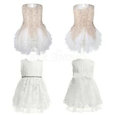 Flower Girl Kids Baby Embroidery Wedding Party Christening Baptism Tutu Dress