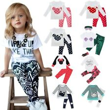 Toddler Kids Baby Girls T-shirt Tops+Pants/Shorts/Dress Outfits Set Clothes 2PCS