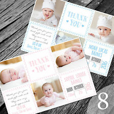 Personalised New Baby Thank You Cards / Announcement (NB8)
