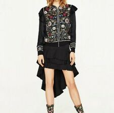 New Womens Ladies Beads Floral Premium Embroidered Ruffled Coat Jacket SML