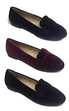 LADIES WOMENS FLAT LOAFERS VELVET SLIP ON PUMPS WORK OFFICE CASUAL CLASSIC SHOES
