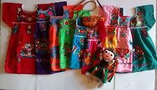 MEXICAN GIRLS DRESS PEASANT EMBROIDERED DRESS ASSORTED COLORS 3M-4T