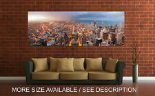 Wall Art Canvas Print Picture Chicago Downtown Night Panoramic View-Unframed