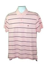 Tommy Hilfiger Men's Pink/Black Cotton Short Sleeves Striped Pattern Polo Shirt