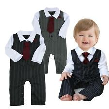 Newborn Baby Boy Gentleman Wedding Formal Suit Tuxedo Romper Outfit Clothes Set