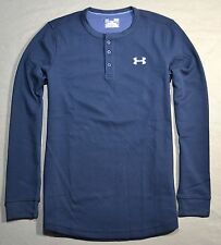 NWT MENS UNDER ARMOUR BLACK THERMAL LONG SLEEVE LOOSE FIT HENLEY SHIRT SZ S M XL