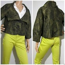 CUE size 10 / 12 cropped 50's style green toned textured jacket excellent cond