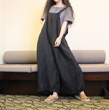 Womens Linen Loose Jumpsuit Pants Wide Leg Casual Overalls Suspender Trousers yh