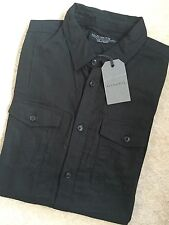 "ALL SAINTS BLACK ""BATTELLE"" PLAIN LONG SLEEVE SHIRT TOP - SMALL - NEW & TAGS"