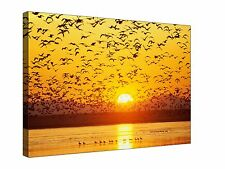 Yellow Sky Sunset Flock of Birds Flying - Gallery Giclee Canvas Wall Art +Sizes
