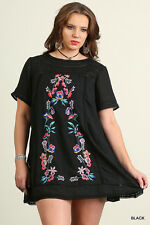 Umgee PLUS Dress Women Size XL Floral Embroidery Boho A Line Tunic Top BLACK