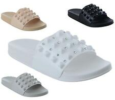 WOMENS FLAT SLIP ON STUDDED DIAMANTE SLIDERS MULES SANDALS LADIES SHOES SIZE