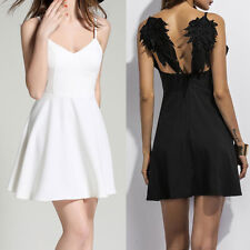 Dark Angle Wings Straps Dress Evening Cocktail Party Club Mini Dress Sundress